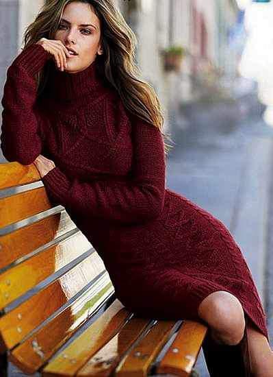 8c259fb034478 Uzun Kollu Örgü Kışlık Elbise