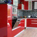 kırmızı Renkli Mutfak Dolapları