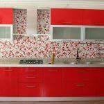 parlak kırmızı Renkli Mutfak Dolapları