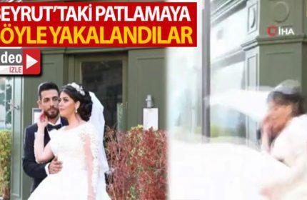 Beyrut'taki patlamaya düğün fotoğrafı çekimi sırasında yakalandılar